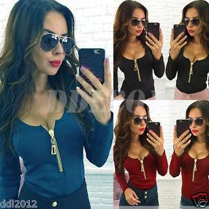 Sexy-Women-Long-Sleeve-Zipper-V-Neck-Casual-Shirt-T-shirt-Top-Blouse-Cotton