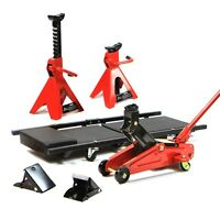Jack Stand Lifter Heavy Duty 2 Ton Pair 2 Wheel Chocks Creeper Garage Combo Kit Set