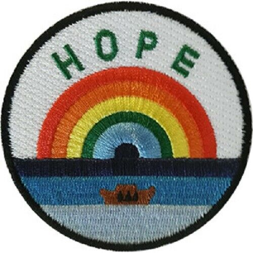 """Embroidered Sew Iron on Inspirational Hope With Rainbow 3.6/"""" Round Patch"""