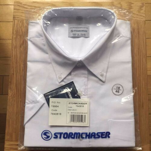 Stormchaser Mens Oxford Shirt Short Sleeves White Cotton Rich Size 15 collar