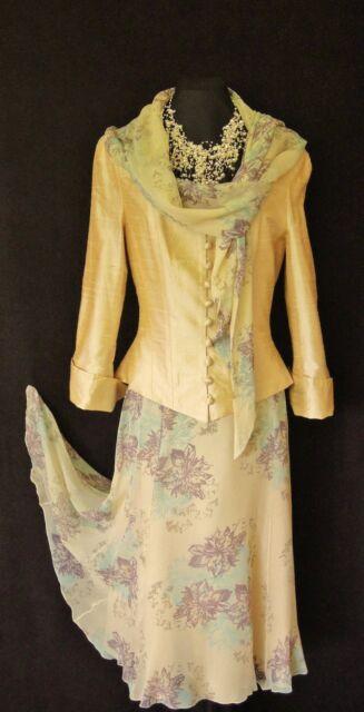 PAULE VASSEUR Size 10 12 Cream Gold Ladys Designer Wedding Skirt & Jacket Outfit
