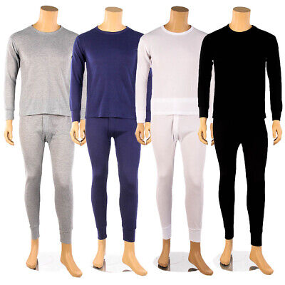 Mens 2pc 100/% Cotton Fleece Thermal Underwear Set Long Johns Top /& Bottom