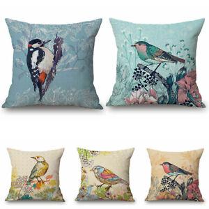 18-034-Art-Bird-Paint-Cotton-Linen-Car-Bed-Sofa-Pillow-Case-Waist-Cushion-Cover