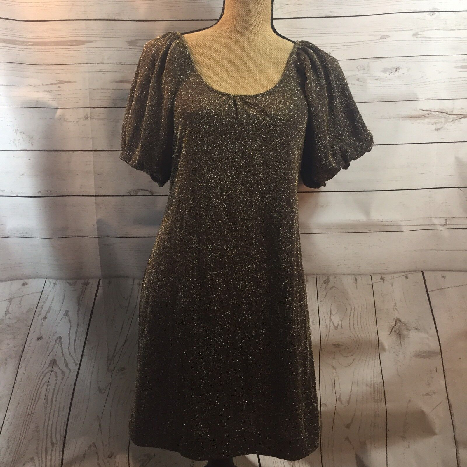 BCBG Maxazria  Cocoa  gold Sparkl Short Sleeve Dress Size M NWT  210.00