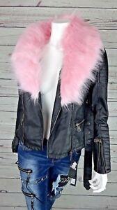 Damen Jacke Kunstleder Kurz Schwarz Kunstfell Pink ...
