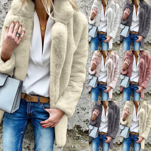 Womens Fluffy Faux Fur Coat Jacket Ladies Winter Warm Cardigan Overcoat Sizes UK
