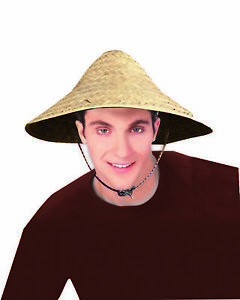 f3cc3823c94 Image is loading Straw-Coolie-Hat-Chinese-Costume-Conical-Rice-Farmer-