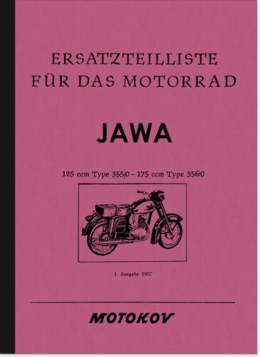 JAWA 125 175 CC CCM tipo 355//0 356//0 RICAMBIO elenco Catalogo parti di ricambio parts list