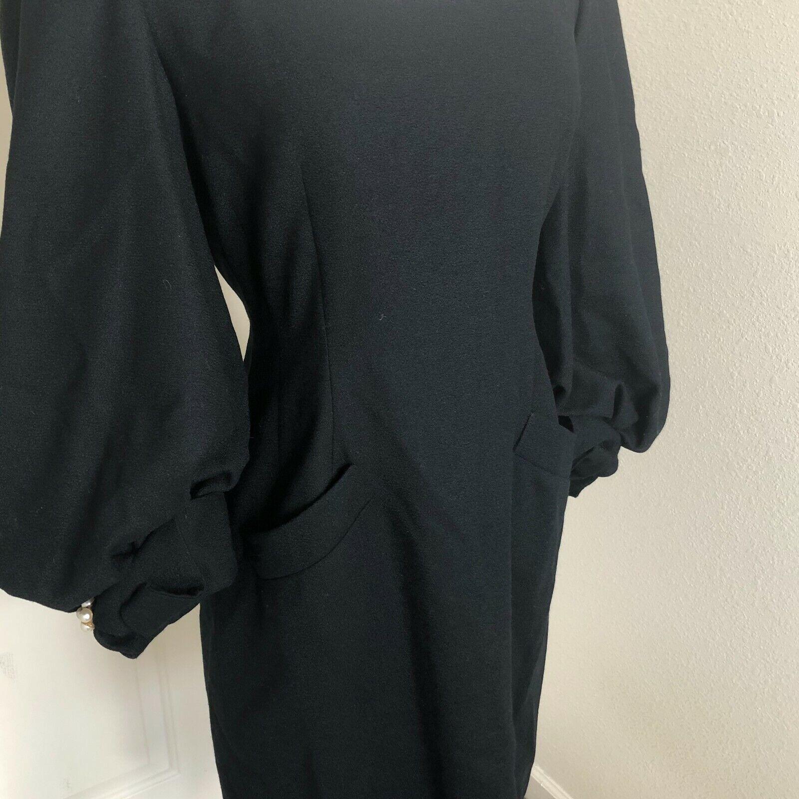 VTG 1980s Joanna Mastroianni 8 Black Wool Dress B… - image 4