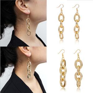 Alloy-Chunky-Chain-Long-Earrings-Women-Statement-Punk-Dangle-Earrings-Jewelry-xj