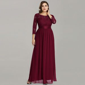 Details About Ever Pretty Burgundy Long Lace Bridesmaid Dresses Ball Party Evening Dress 07412