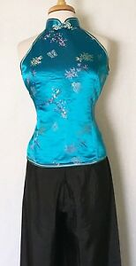 Traditional-Chinese-Women-Halter-Top-Blouse-Brocade-with-Bamboo-and-Plum-Flower