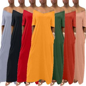 Summer-Women-Solid-Baggy-Short-Sleeve-V-neck-Casual-Pocket-Long-Maxi-Dress-S-2XL