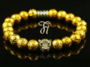 Lava-Galvanised-Gold-Gold-Coloured-Tiger-Head-Bracelet-Pearl-Bracelet-8mm