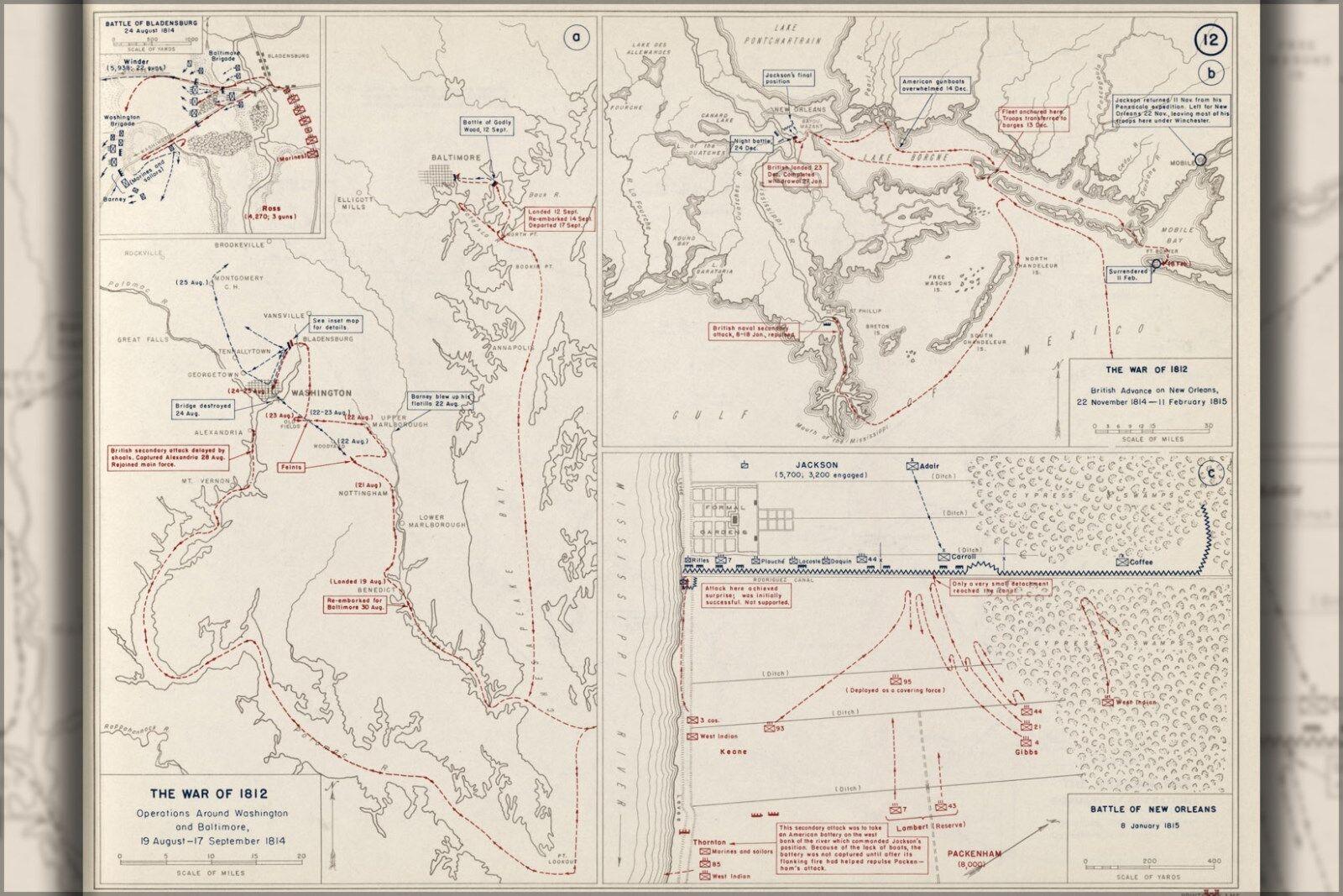 Washington Dc Karte.Plakat Viele Viele Viele Größen Krieg 1812 Karte Von Washington