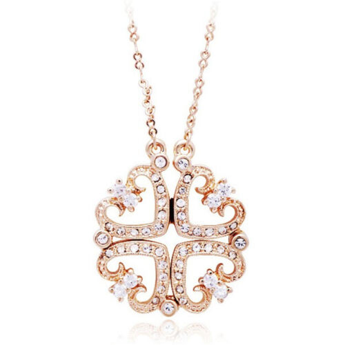 Wedding Gold DUAL façon strass cristal Collier Coeur Pendentifs