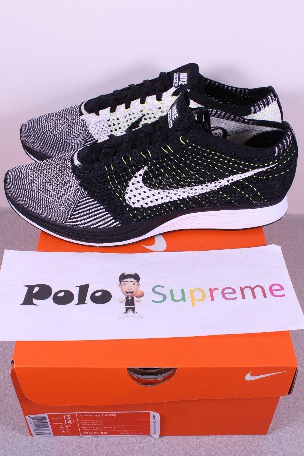 Nike Flyknit Racer Black White Volt 526628 011 New Running