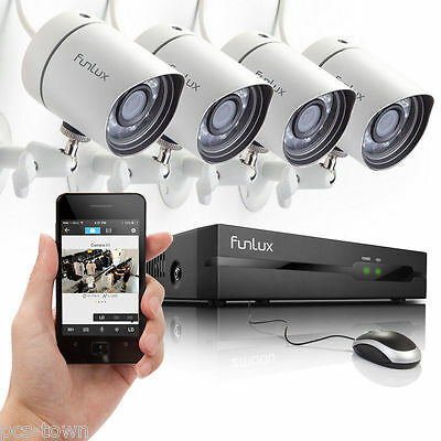 Funlux® 1280 * 720P HD IP Network Outdoor CCTV Home Security Camera NVR System