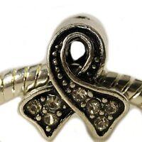 clear Awareness Ribbon W/royal Blue Charm For Snake Chain Charm Bracelets