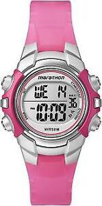 4c8452a0f58b Timex Women s Marathon T5K8089J Indiglo Pink silver Digital Sport Watch