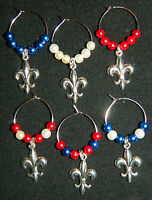 Set 6 Glass Pearl Silver Fleur De Lis Wine Glass Charms France Flag French Lily