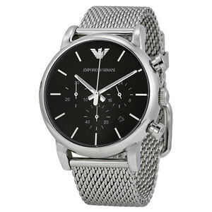 59c1a15c7043e1 Image is loading Emporio-Armani-Classic-Watch-Black-Silver-Stainless-Steel-