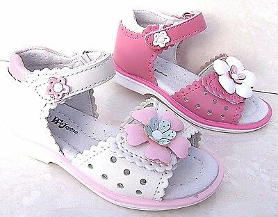 GIRLS BABY REAL LEATHER LINED WHITE PINK SANDALS OPEN TOES SUMMER HOLIDAY SHOES
