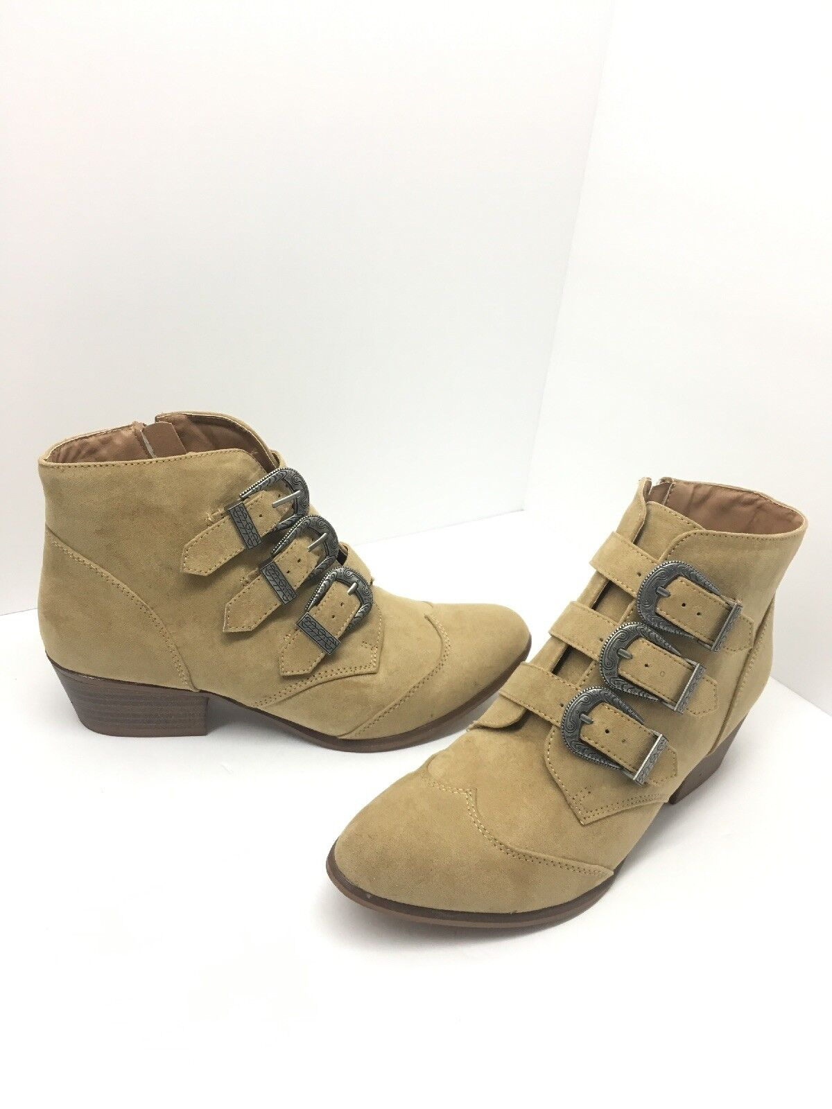 3816196a16f0f SO Stage Ankle Boots Zipper Closure Almond Toe Tan Size 7 M NWOB ...