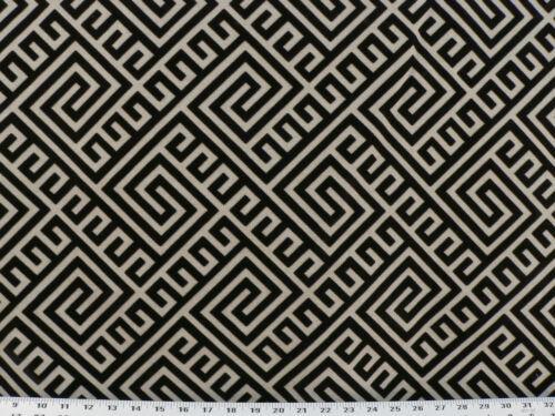 Drapery Upholstery Fabric Rustic Burlap//Linen Flocked Velvet Maze Design Black