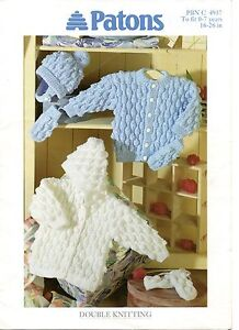 d73cb3678b44 Patons 4937 Vintage Baby Knitting Pattern Cardigan Hoodie Hat ...