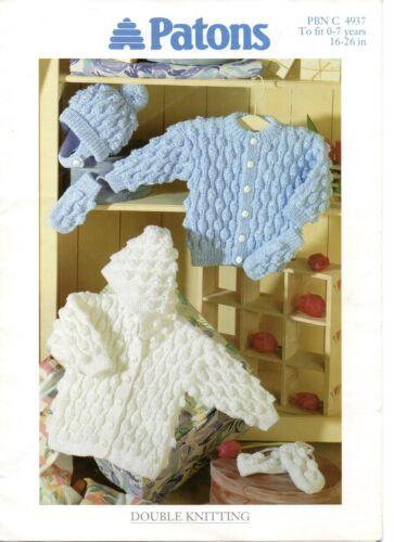 Patons 4937 Vintage Baby Knitting Pattern Cardigan Hoodie Hat