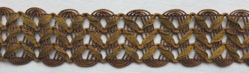 Vin Gold Metallic Trim Repeating Leaf Like Design in Mesh Bronze Back French