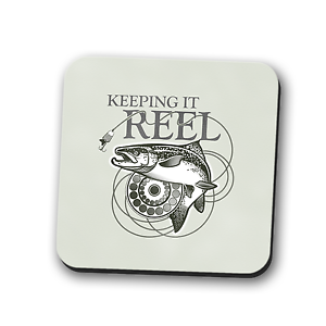 Keeping it Reel Coaster Place Mat Mug Rest Dad Fishing Gift Square 9cm x 9cm