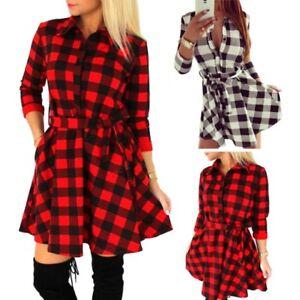 8ab39bb3cb Women Plaid Flannel Dress 3 4 Sleeve Lapel Warm Button Shirt Dress ...