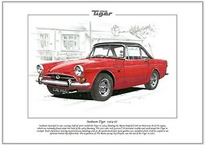 SUNBEAM TIGER 1964-67 - Fine Art Print - A4 - Rootes Group Sports Car V8 engine
