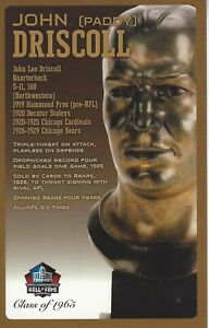 John ( Paddy ) Driscoll Chicago Bears Football Hall of Fame Bust Card