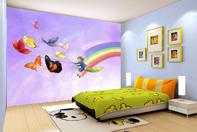 3D Butterfly Rainbow Painted Wall Paper Wall Print Decal Wall AJ WALLPAPER CA