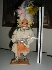 "Native American 12"" Indian Doll WOOL ROBE Cloth Wire Body VTG Kachina War Dancer"