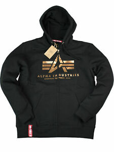 Details about Alpha Industries Hooded Jacket Basic Zip Hoody blackgold 178325 365 6147 show original title