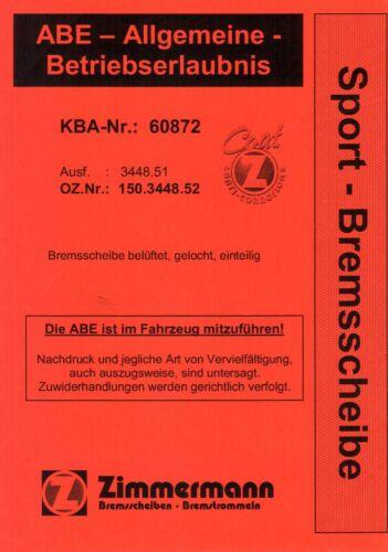 ZIMMERMANN SPORT BREMSE  BMW E46 316i 318d 318is 320i  GELOCHTE SCHEIBEN+BELÄGE