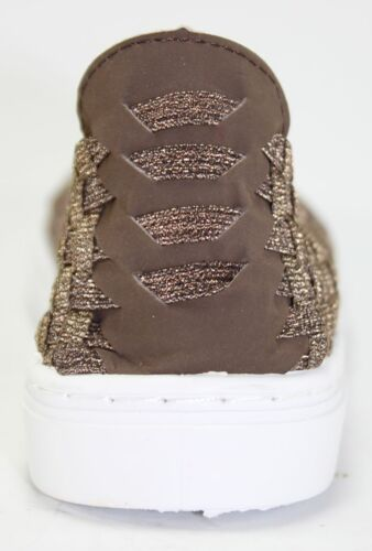 Easy On Stylish Sneakers Slip On Brone Brown Woven PVC Street Chic Women/'s Shoes