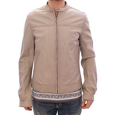 NWT $3400 DOLCE & GABBANA Beige Leather Jacket Biker Coat Giacca EU50 / US40 / L