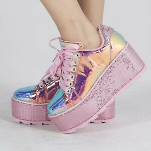 best loved 7b05e 42755 Image is loading YRU-Lala-Mermaid-Pink-Holographic-Platform-Sneakers-Sequin-