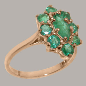 Solid-9ct-Rose-Gold-Natural-Emerald-Womens-Cluster-Ring-Sizes-J-to-Z