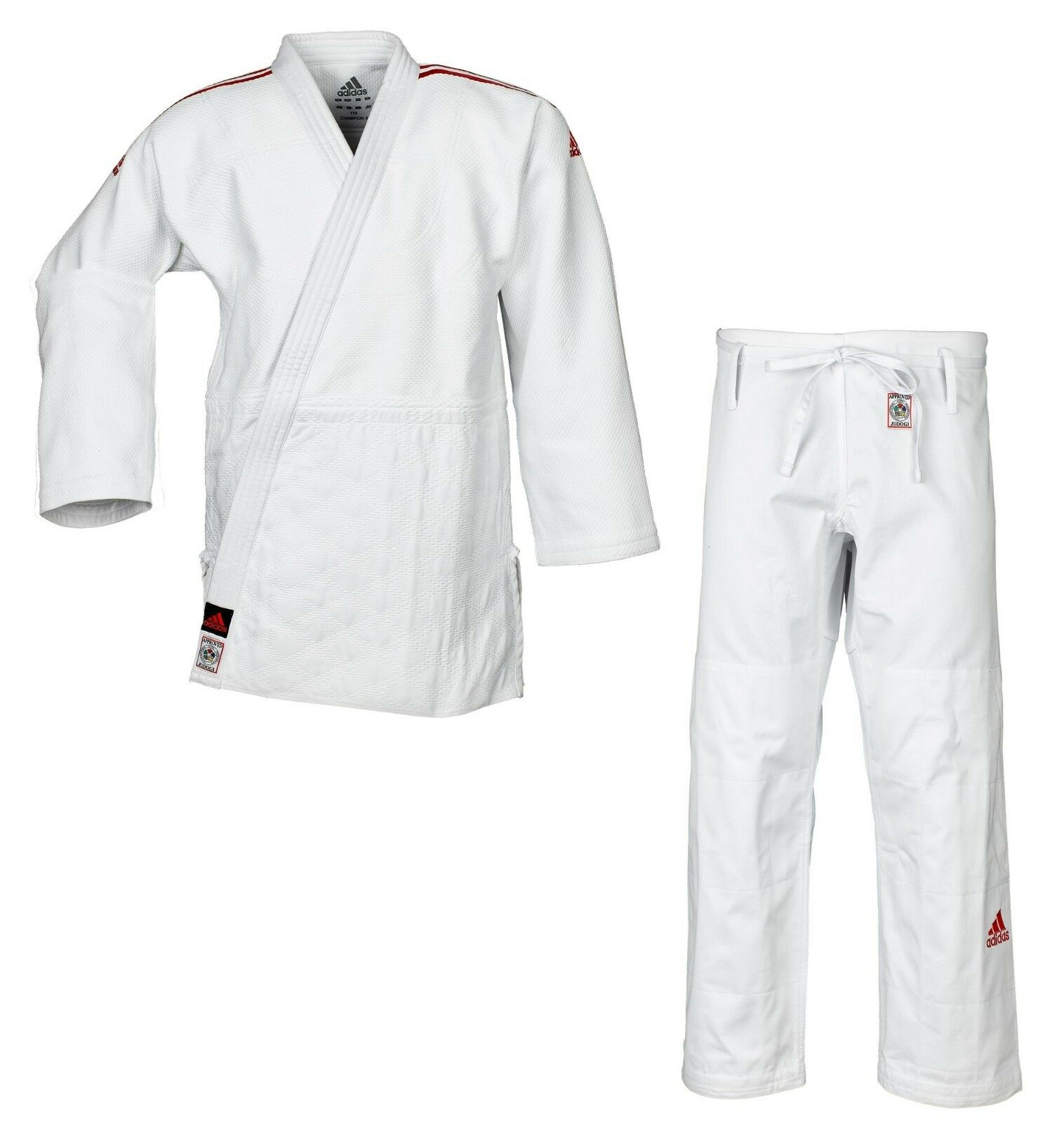 Adidas Judoanzug  CHAMPION II  IJF weiß rote Streifen JIJF - Judo-Anzug