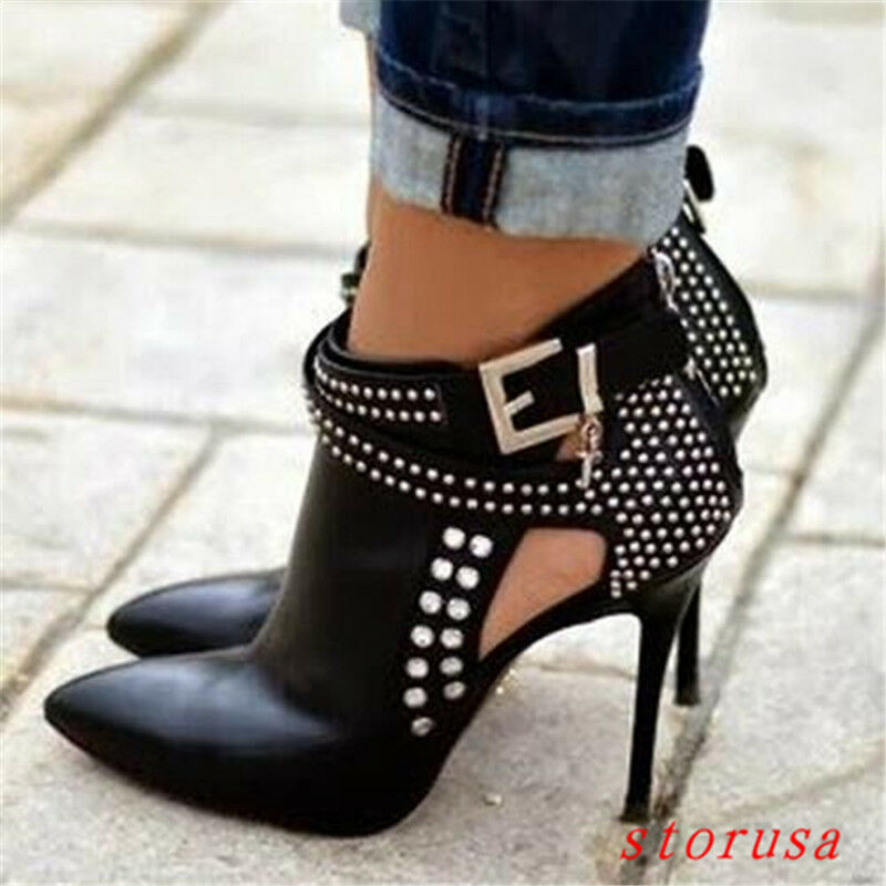 Sexy Women High Stiletto Heel Pointy Toe Ankle Boots Buckle High Heels Size New