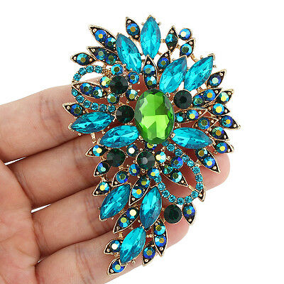 "Vintage 3.1"" Flower Oval Brooch Pin Austrian Crystal Green Blue Gold Tone"