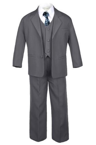 Baby Boy Kid Dark Gray Wedding Formal Party Tuxedo Suit Chain Pattern Tie S-20