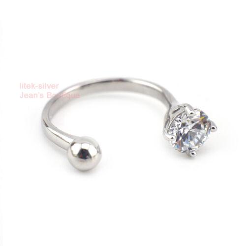925 Argent Sterling Zircone Cubique Boule Ouvert Réglable Thumb Ring A3294