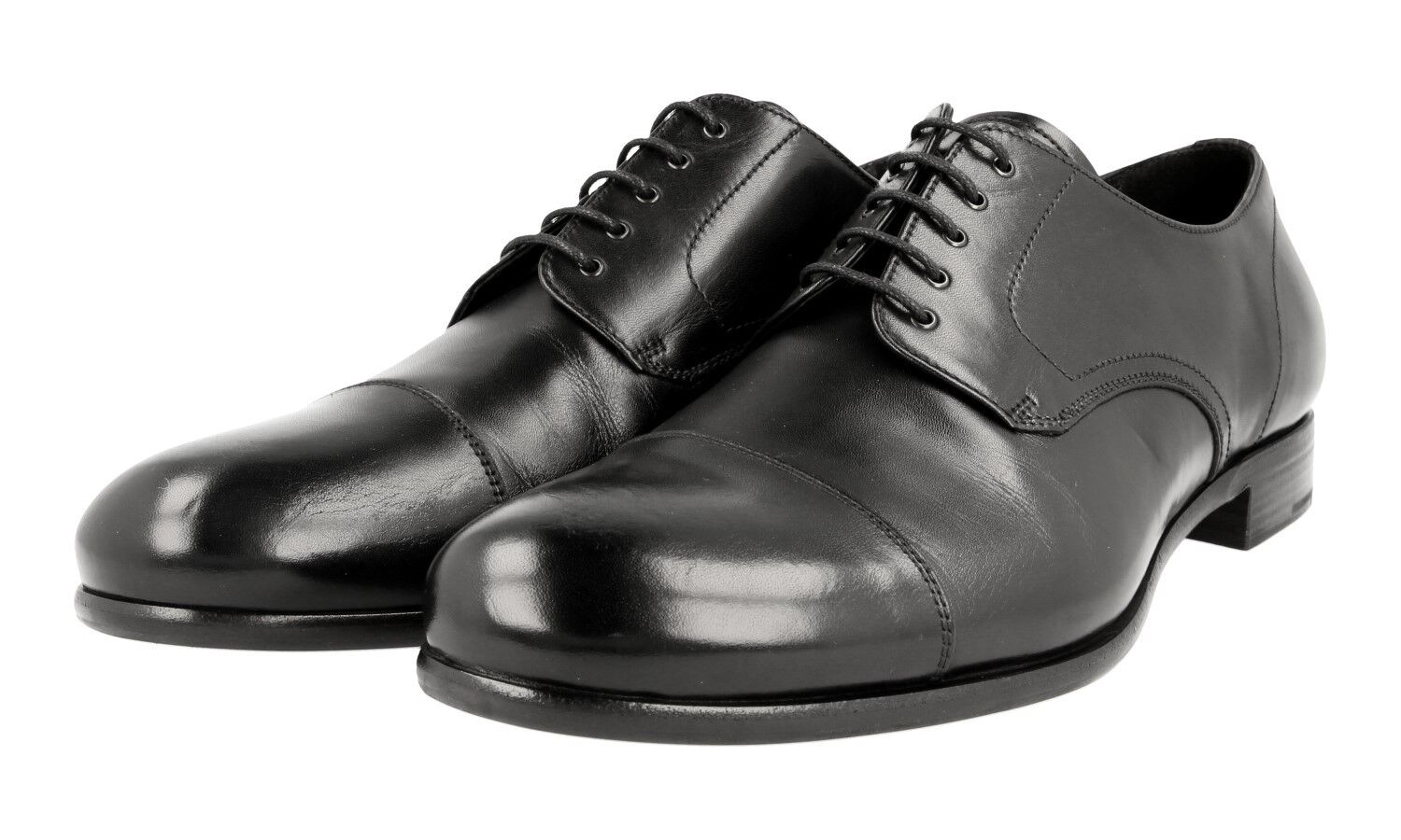 AUTH PRADA CAP TOE DERBY BUSINESS scarpe 2EB134 nero NEW US 7.5 EU 40,5 41